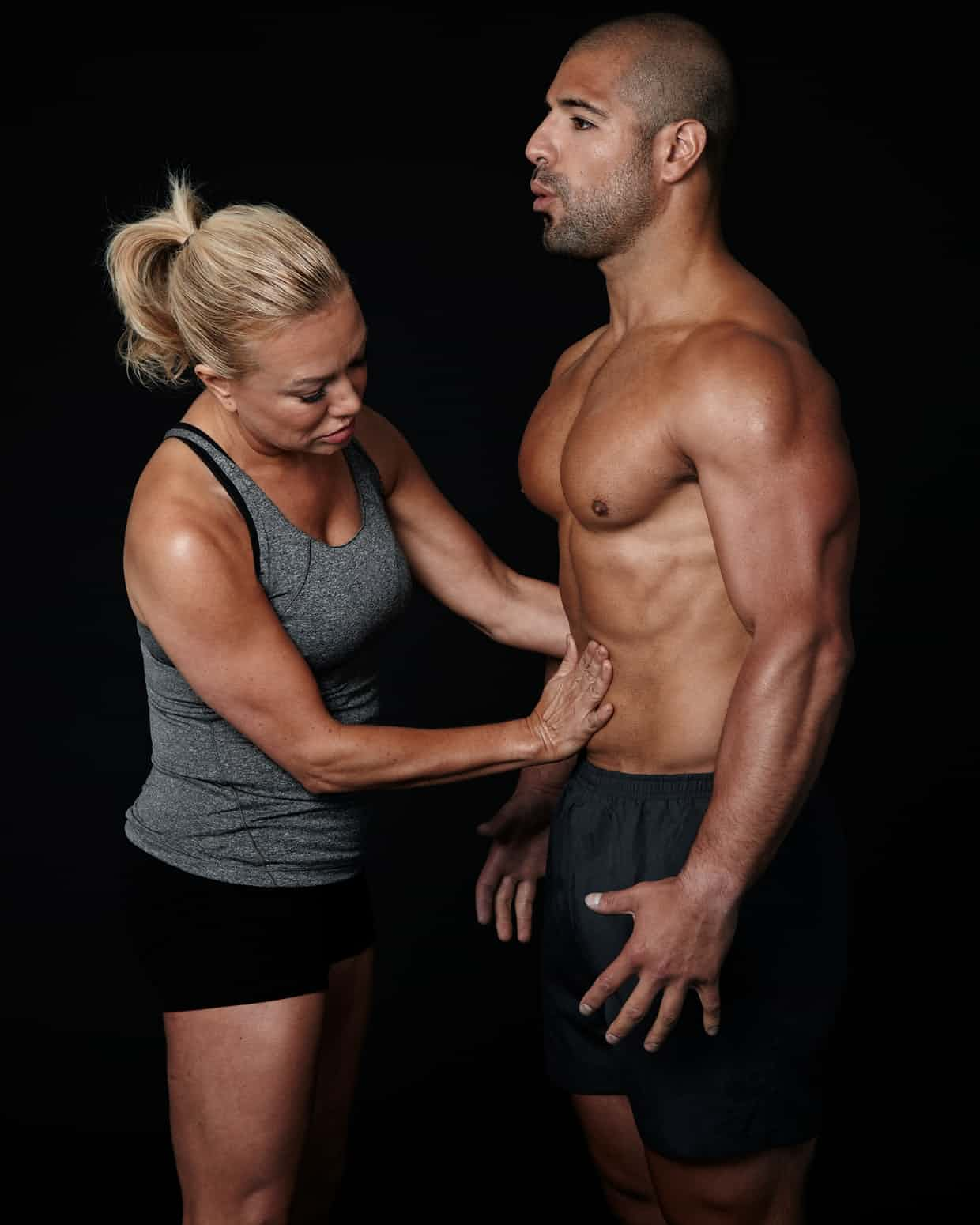 Belisa Vranich teaches a client to use his diaphragm to breathe. Photograph: Willspace NYC