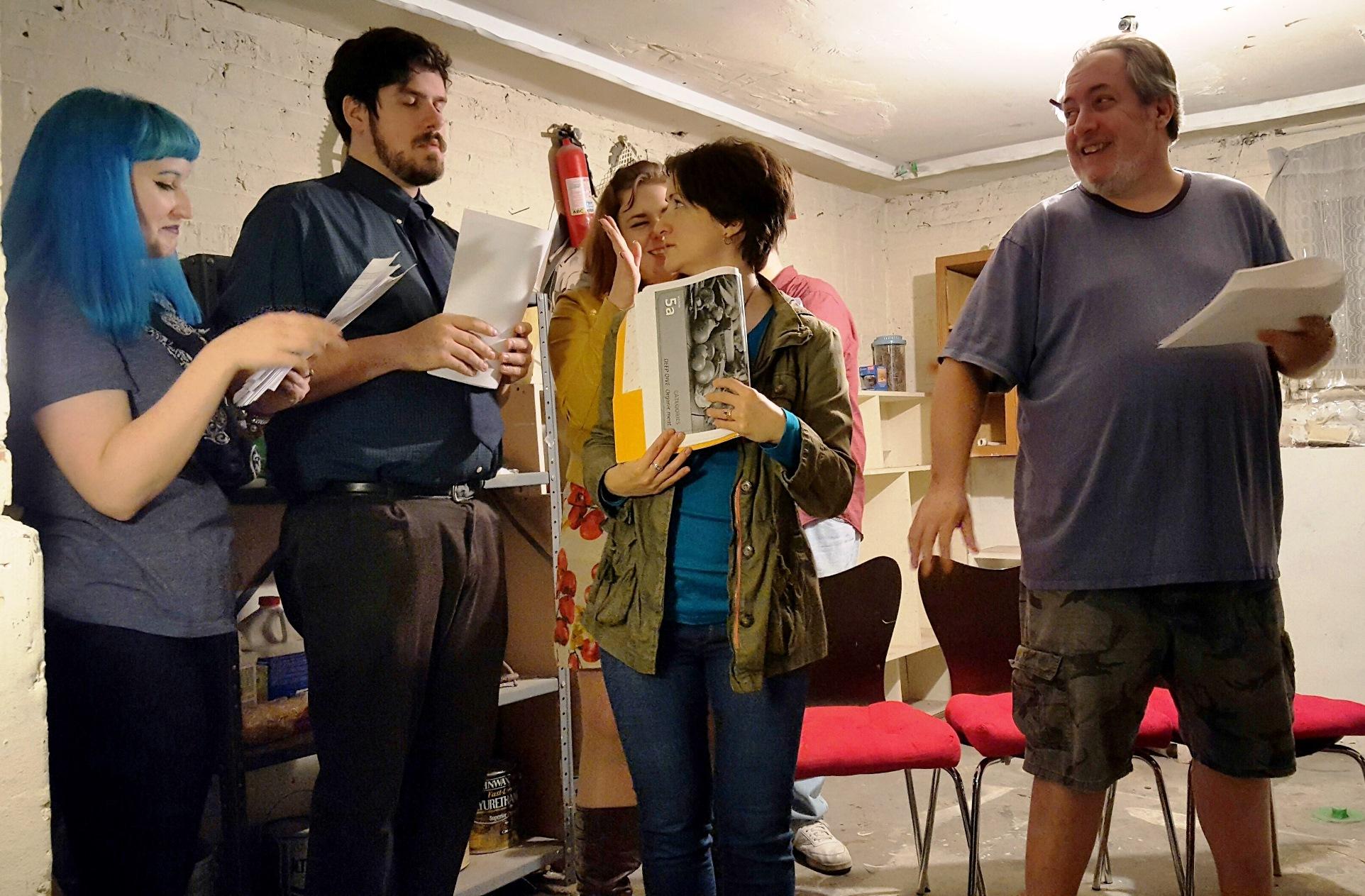 Krampus!  rehearsals are underway. From left: Stefanie Johnsen, Chris Mueller, Jean E. Burr, Allison McCorkle and Chad Wise.