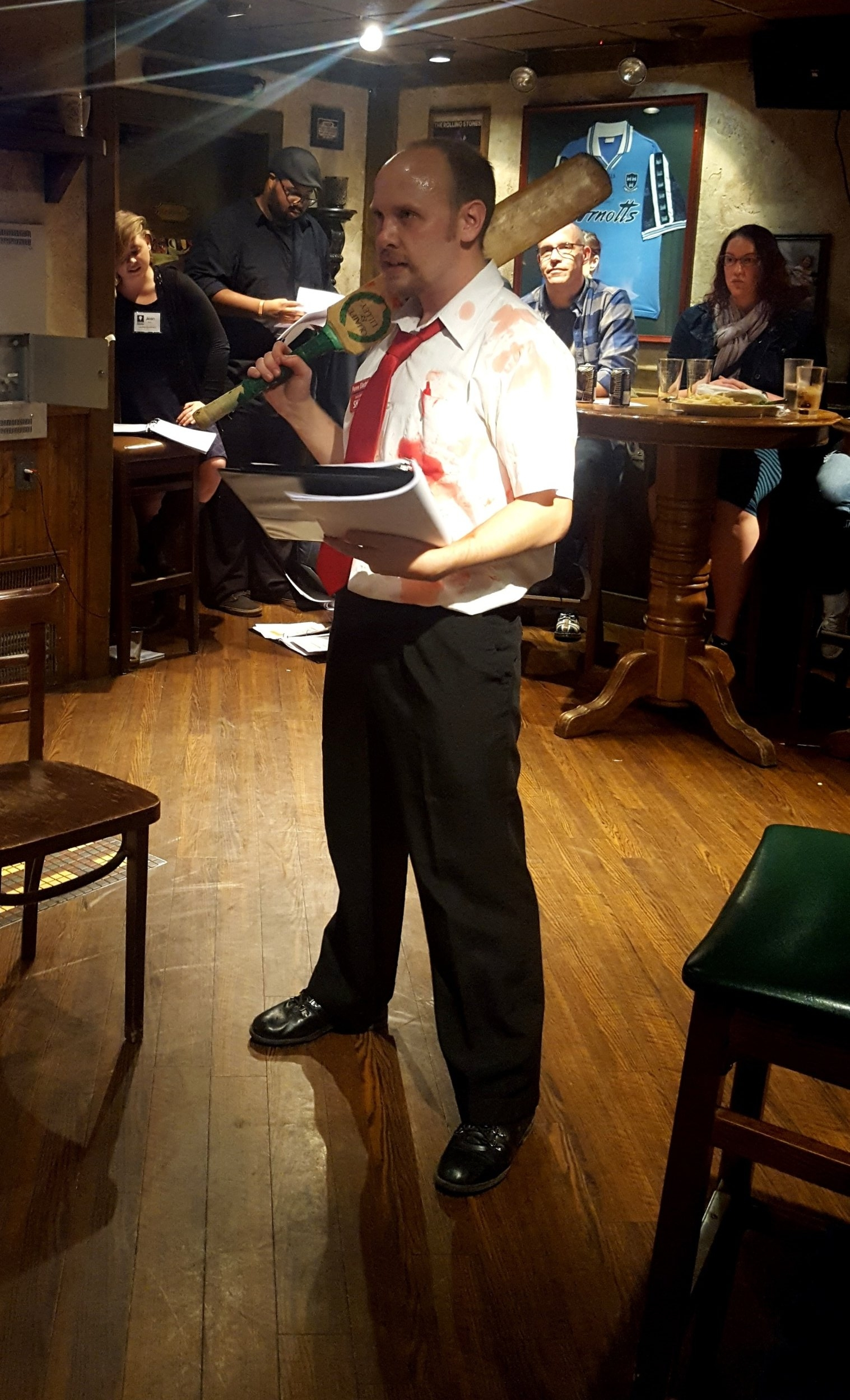 Scott Ray Merchant as Shaun in  You've Got READ on You: A  Shaun of The Dead  Live Reading , held Oct. 17, 2017, at Celtic Crown.