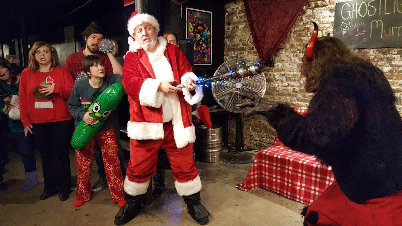 """Chad Wise (center) as Chet in Ghostlight's 2016 production of """"Krampus!"""""""