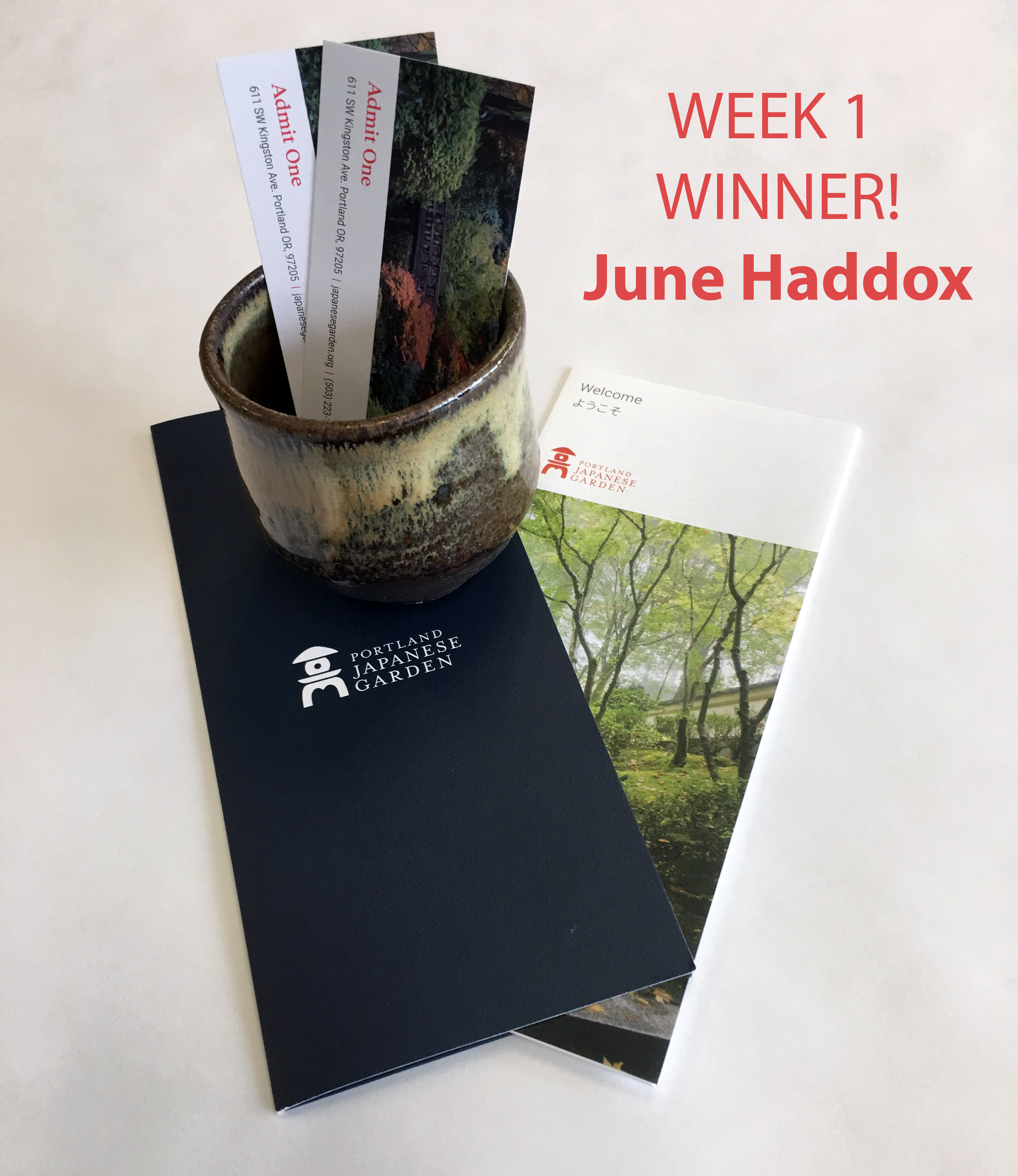 WEEK 1 - Tuesday, May 21 through Monday, May 27Enter to win this beautiful tea bowl and two tickets to Portland Japanese Garden. Value: $65.Winner will be announced Tuesday, May 28th.
