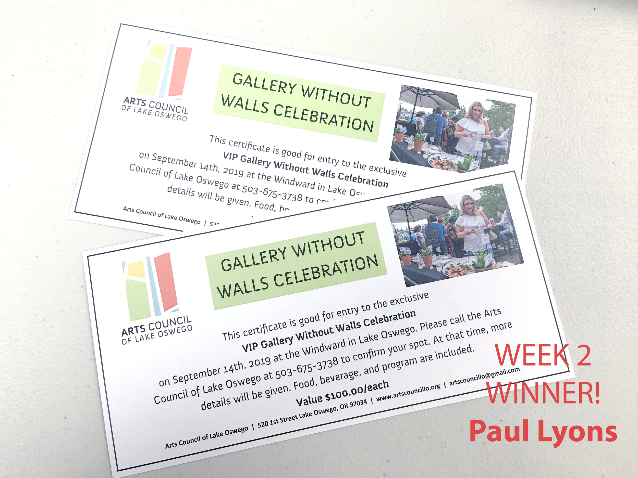 WEEK 2 - Tuesday, May 28 through Monday, June 4Participants will have the opportunity to win two tickets to Gallery Without Walls VIP Celebration! Value: $200.Winner will be announced Tuesday, June 4th.