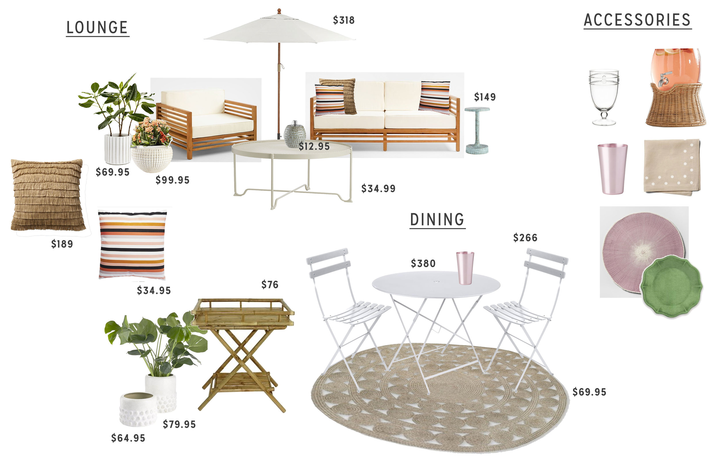 My furniture plan with pricing.