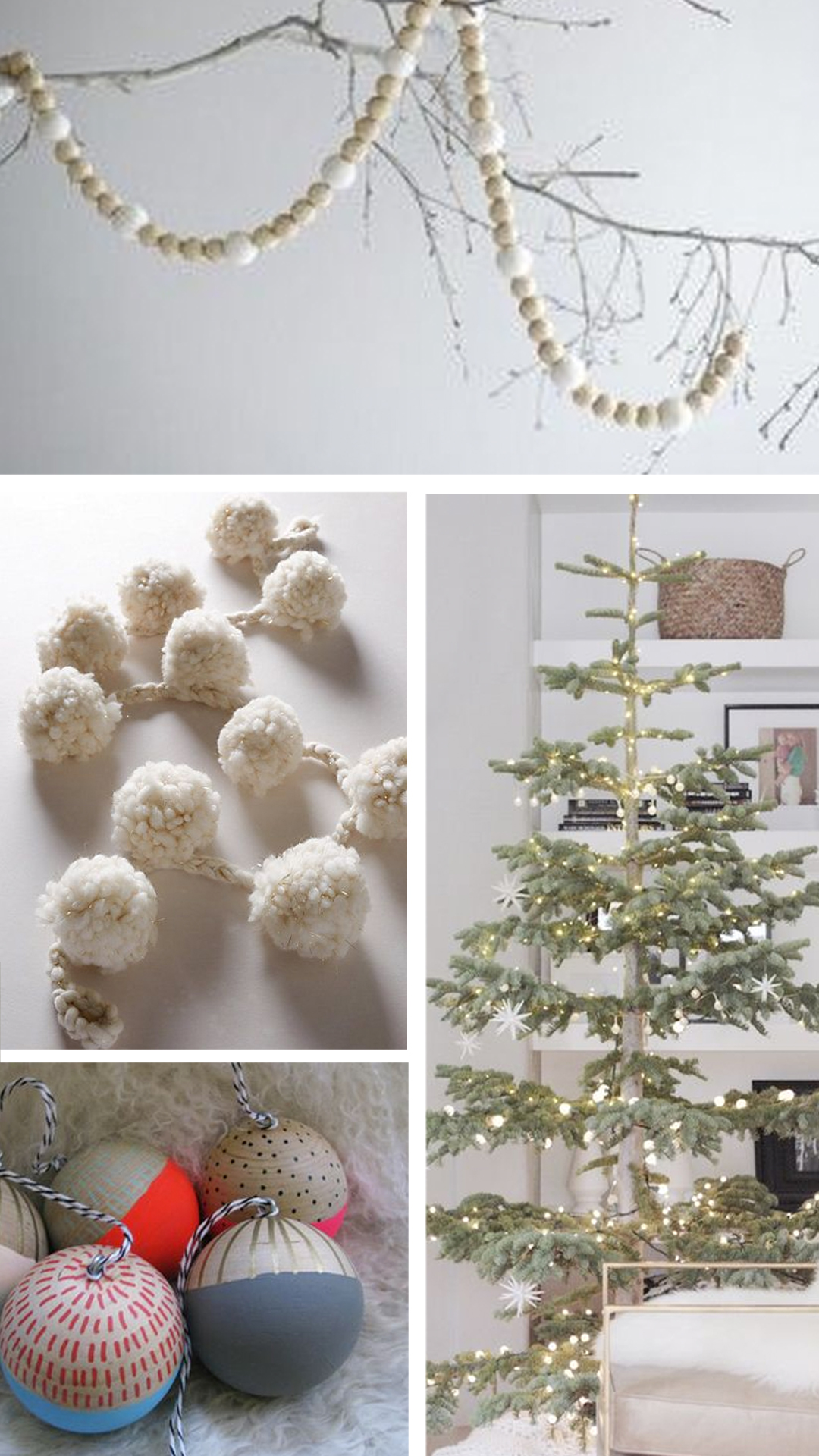 tree - do yourself a favor and get a noble fir - the silvery blue green color is lovely and plays well with neutrals. and his nice negative space for ornaments. keep lights white and plentiful - add strands of wooden bead garland, wool pom poms or felted ball garlands would be nice as well. add in some diy hand painted wooden ornaments in blue, periwinkle, gold, black and white in simple patterns to add some whimsy.
