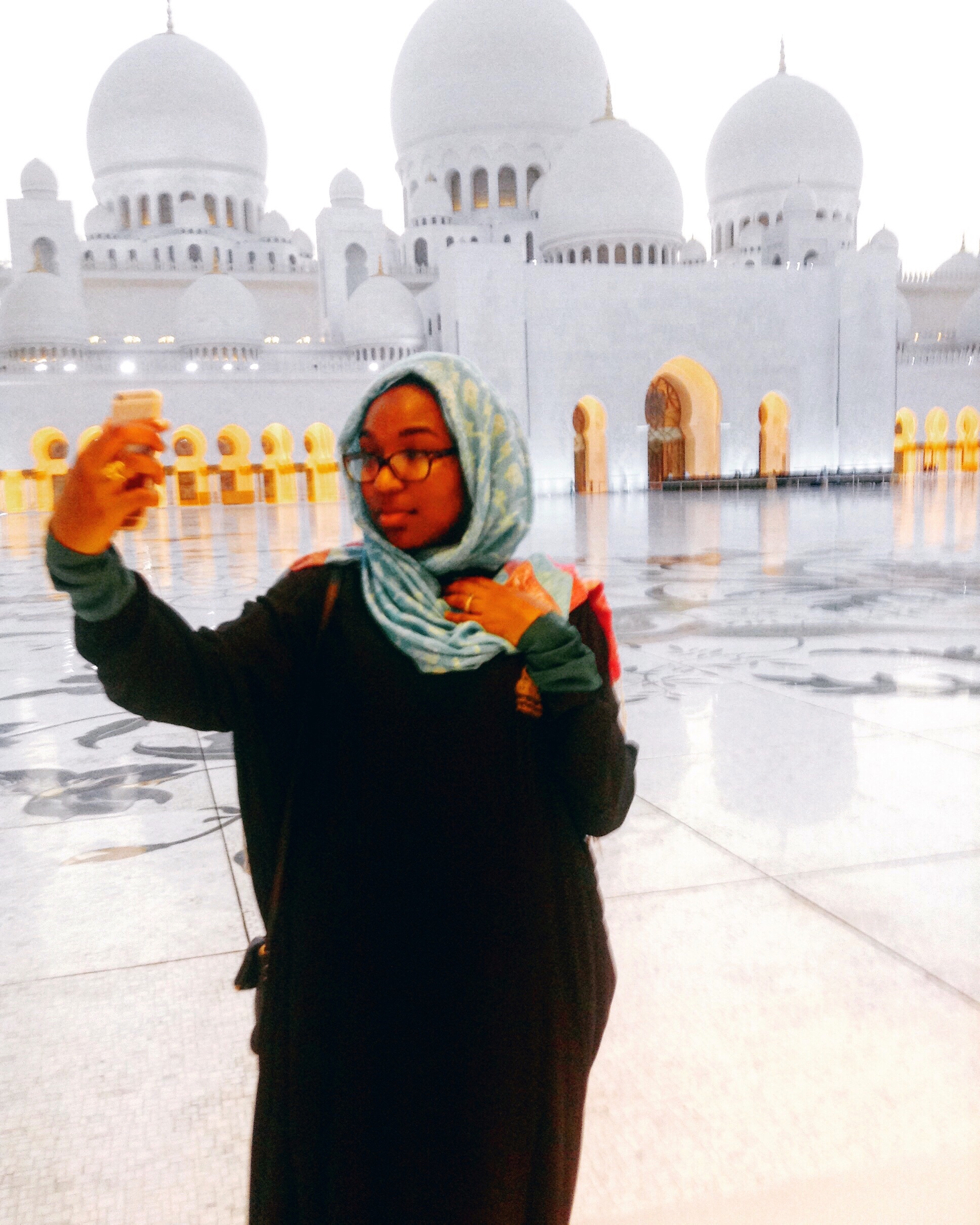 Selfie game strong! Visiting the  Sheikh Zayed Grand Mosque . This moment was made possible because I asked my new job for unpaid time off during my new employee probationary period to visit the United Arab Emirates: Abu Dhabi and Dubai.