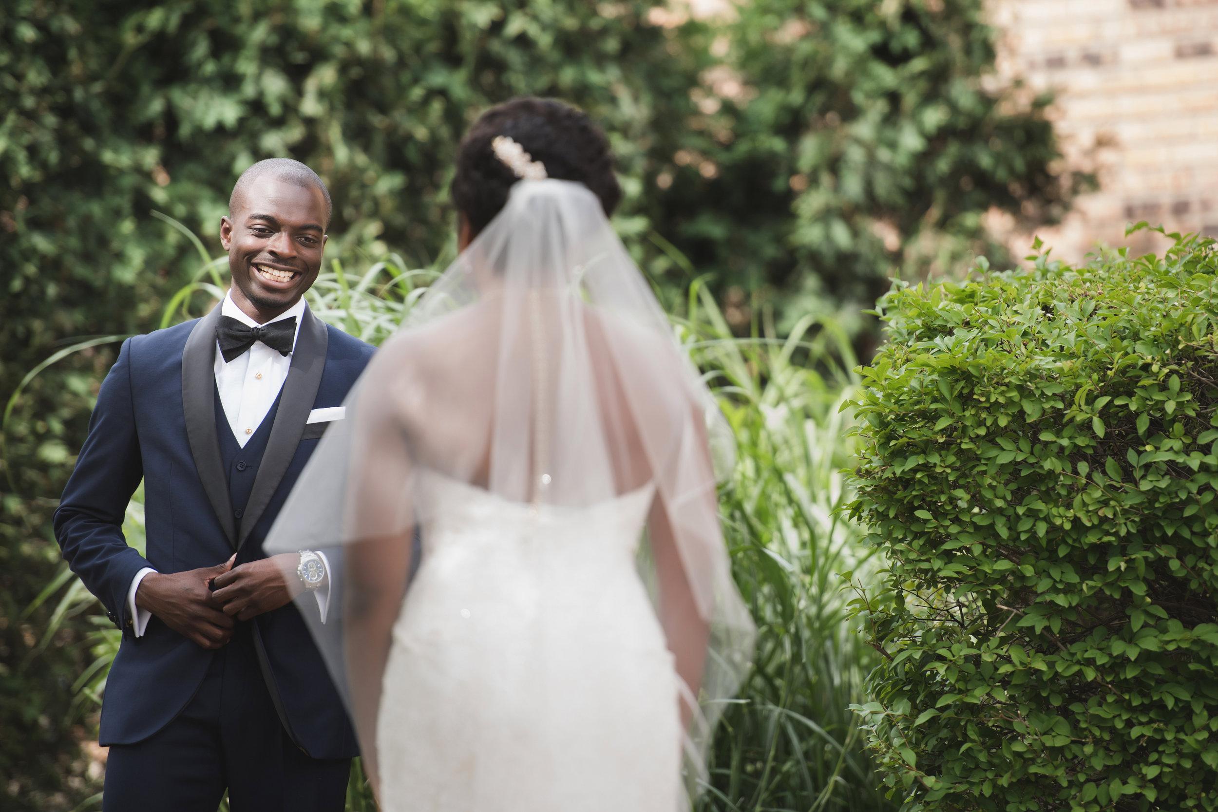 african-american-groom-bride-wedding-first-look