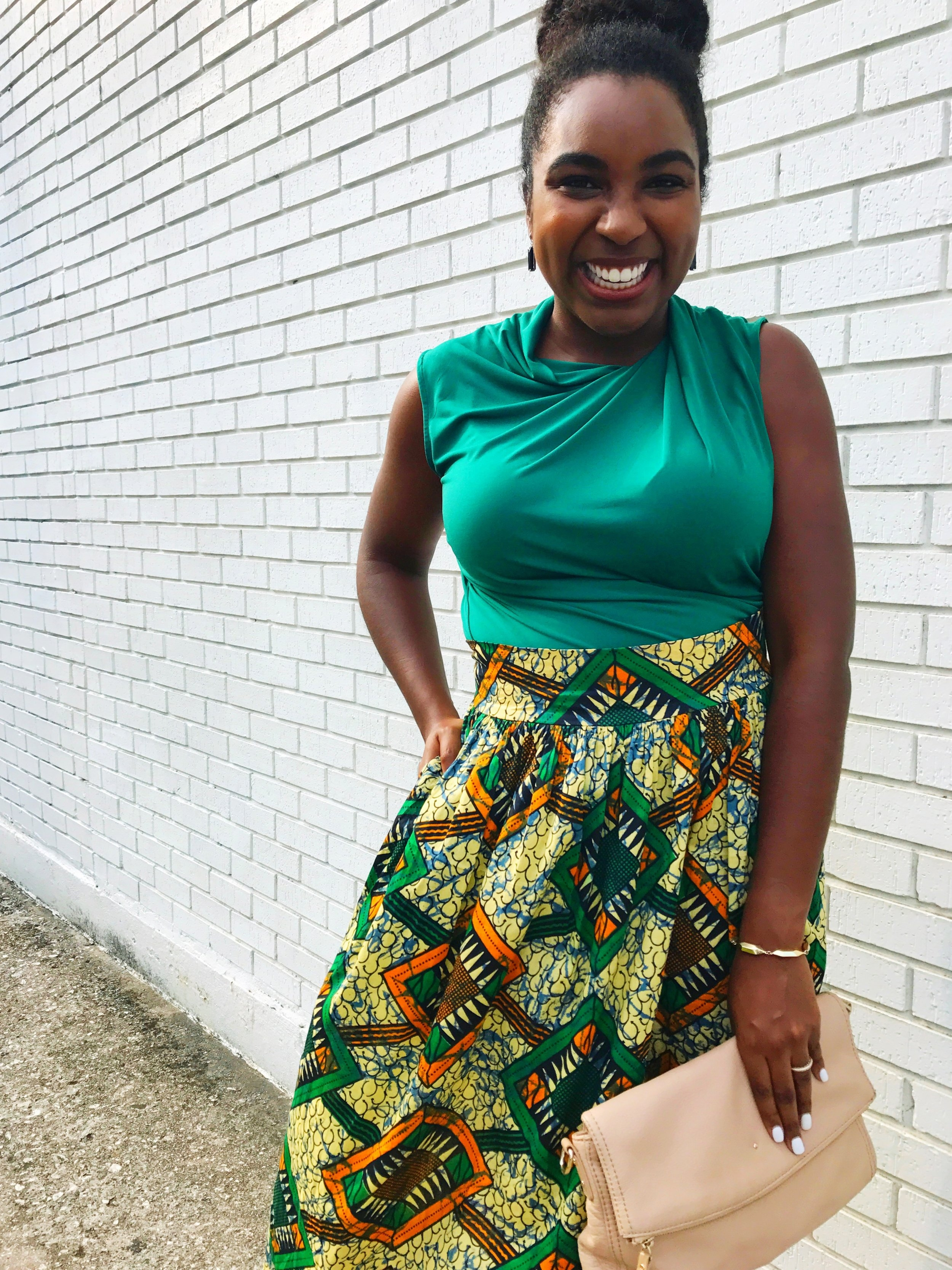 ankara-midi-skirt-green-blouse