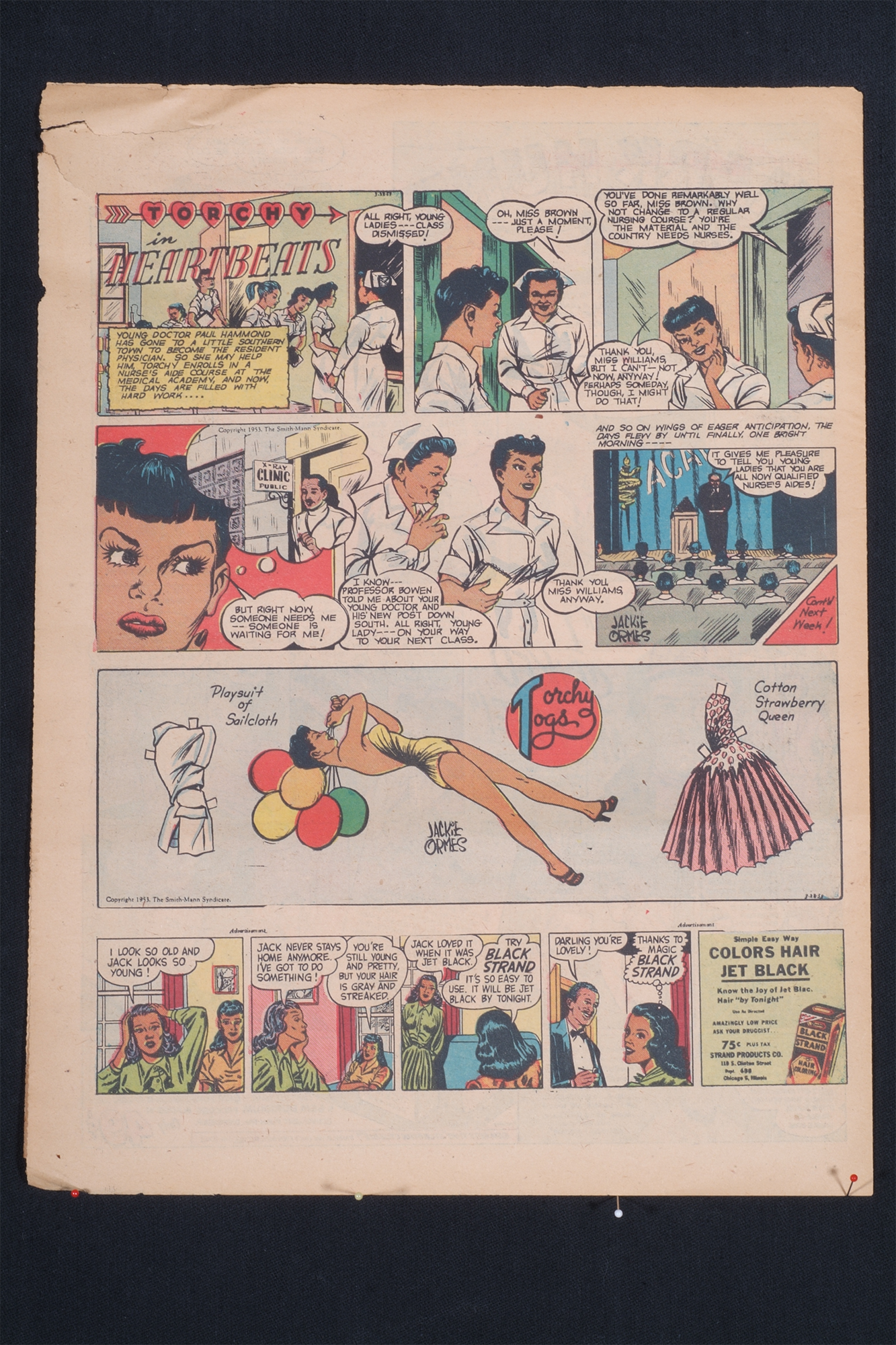 Jackie Ormes (American, b. 1911 - 1985) Torchy in Heartbeats, 1953, Newsprint sheet, 10.5 x 15 inches, Published by the Pittsburgh Courier