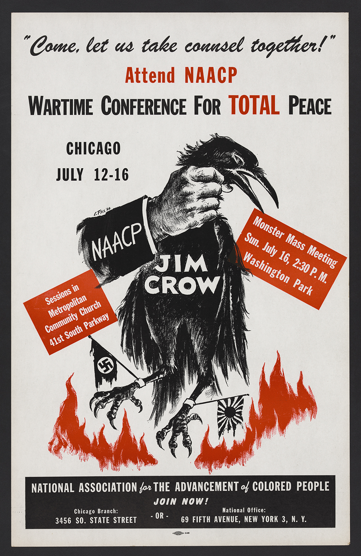 NAACP Poster, 1944.Elton C. Fax (American, b. 1909 - 1993).