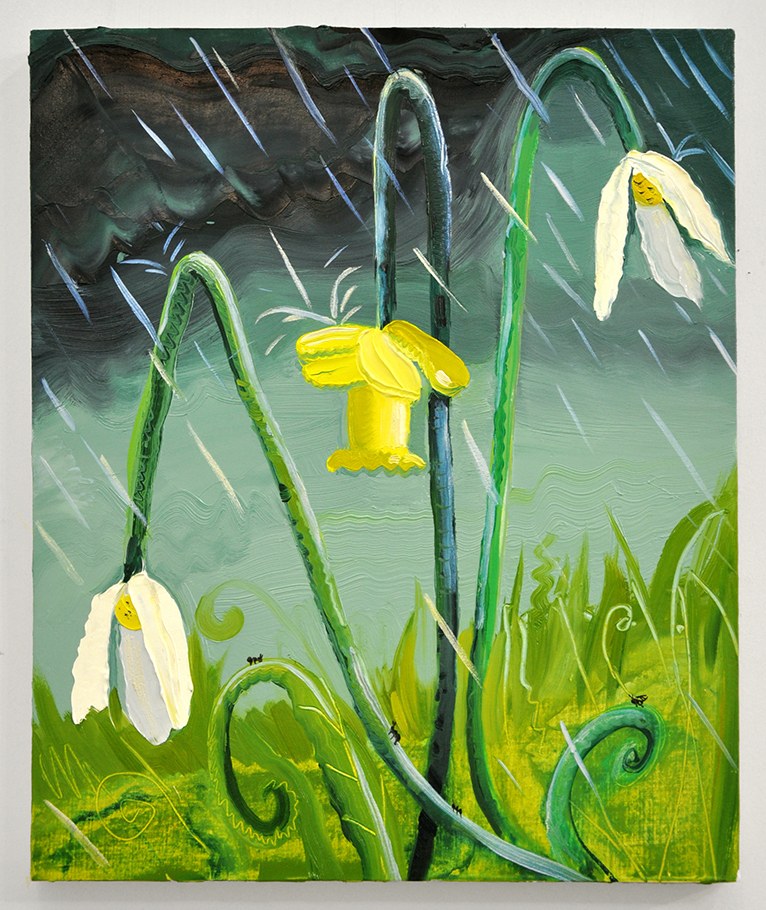 Sad Flowers in the Rain. Oil on panel. 14 x 17 inches. Nikki Maloof.