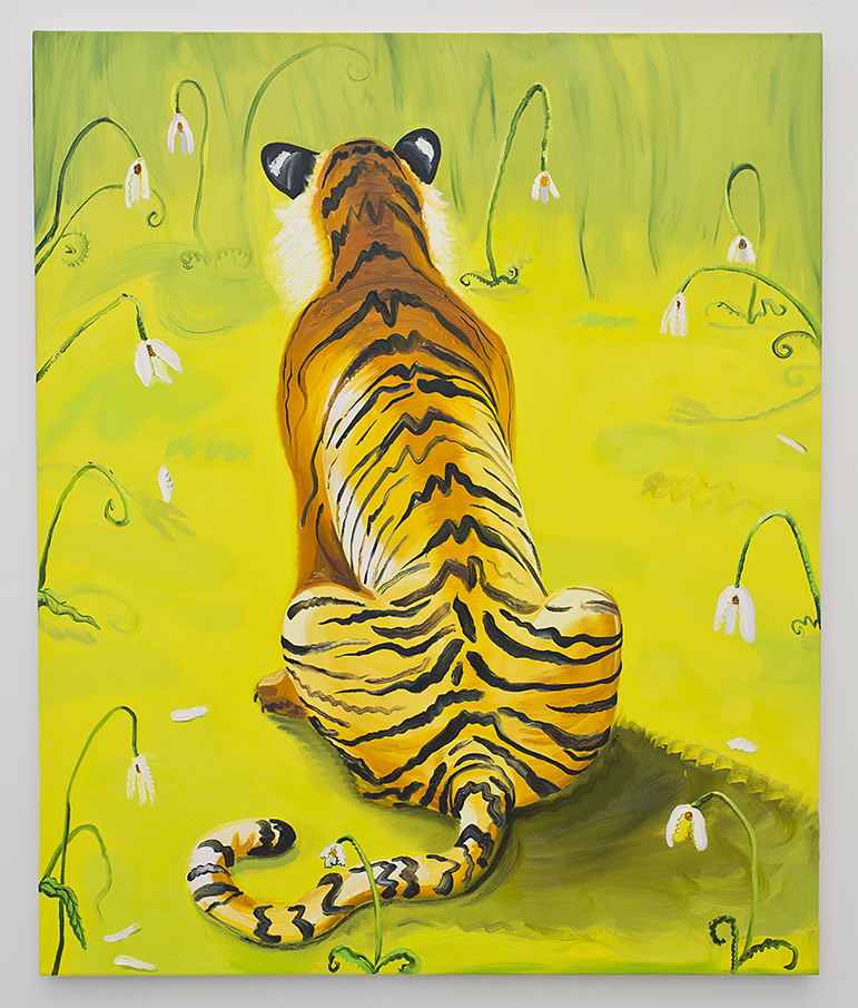 Tiger in a Yellow Field of Sad Flowers .  Oil on canvas.  60 x 50 inches.  Nikki Maloof.