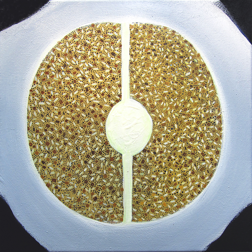 Everything bagel , 2015, acrylic on canvas, 12 x 12 inches. Jennifer Coates.