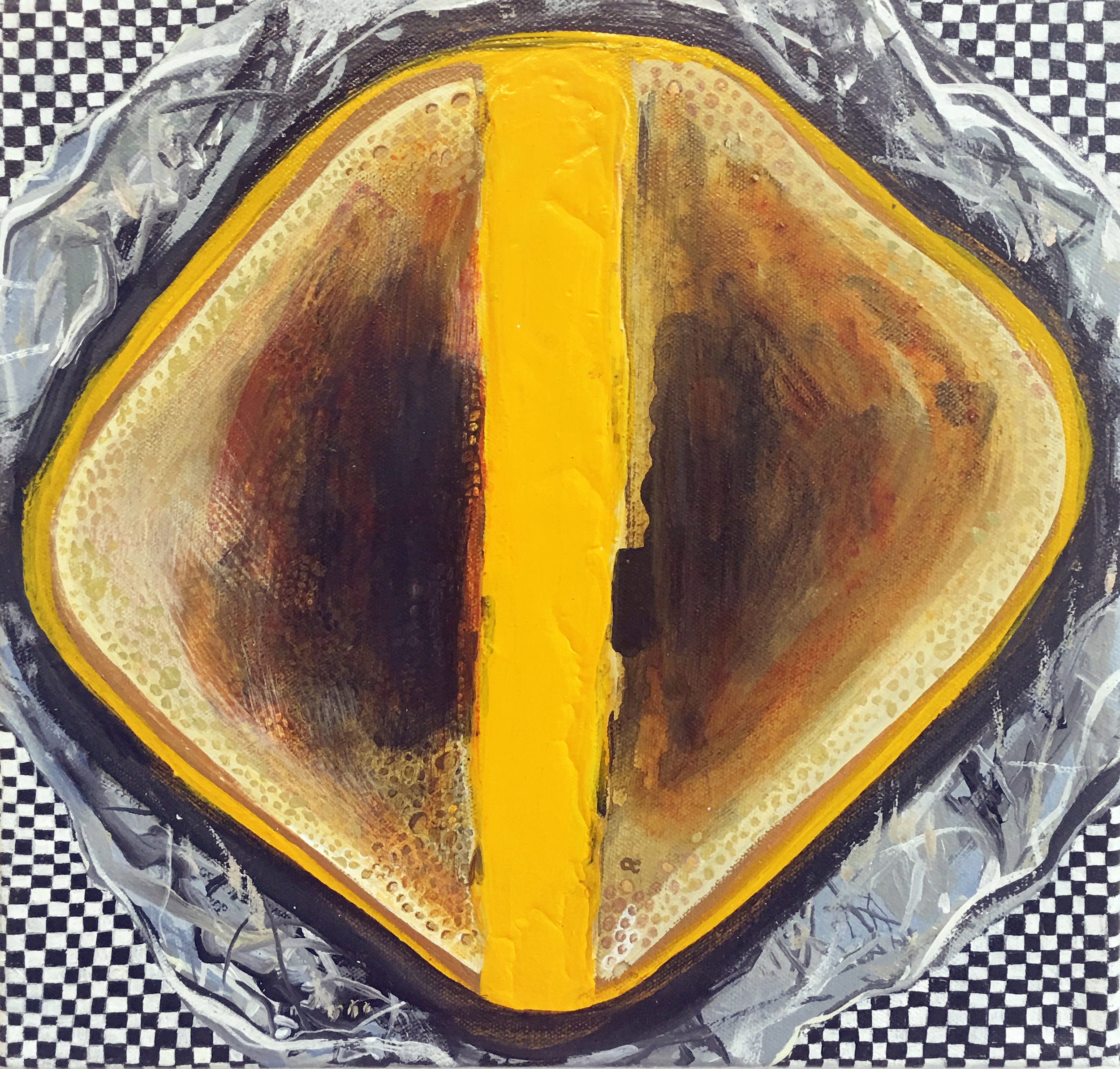 Cheese Sandwich , 2015, acrylic on canvas. Jennifer Coates.