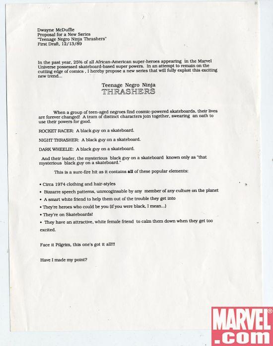 Dwayne McDuffie (American, b. 1962 - 2011),  Teenage Negro Ninja Thrashers,  1989, Xerox sheet, 8.5 x 11 inches, courtesy of  © MARVEL