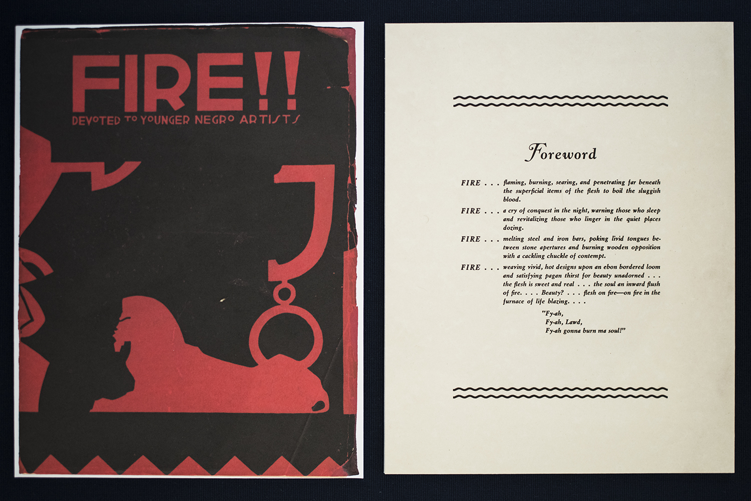 Fire!! A Quarterly Devoted to the Younger Negro Artists,  1926, National Urban League.Wallace Thurman, editor (American, b. 1902 - 1934) Dust Jacket: Aaron Douglas (American, b. 1899 - 1979).