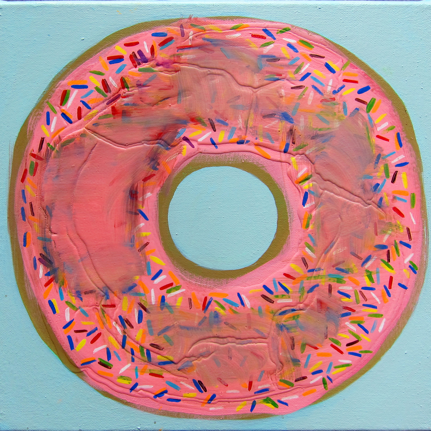 Pink Donut , 2015, acrylic on canvas, 12 x 12 inches. Jennifer Coates.