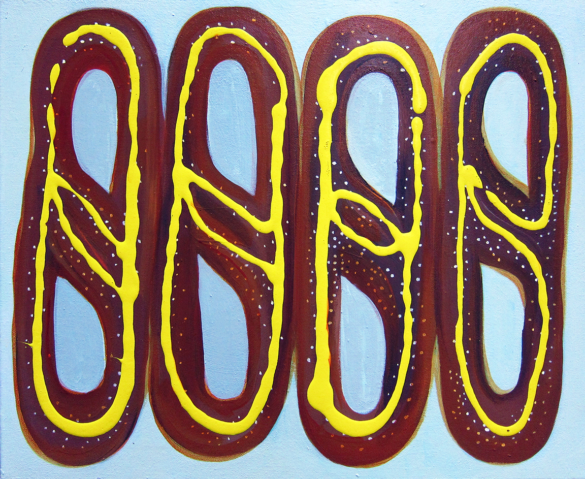 Soft pretzels , 2015, acrylic on canvas, 14 x 18 inches. Jennifer Coates.