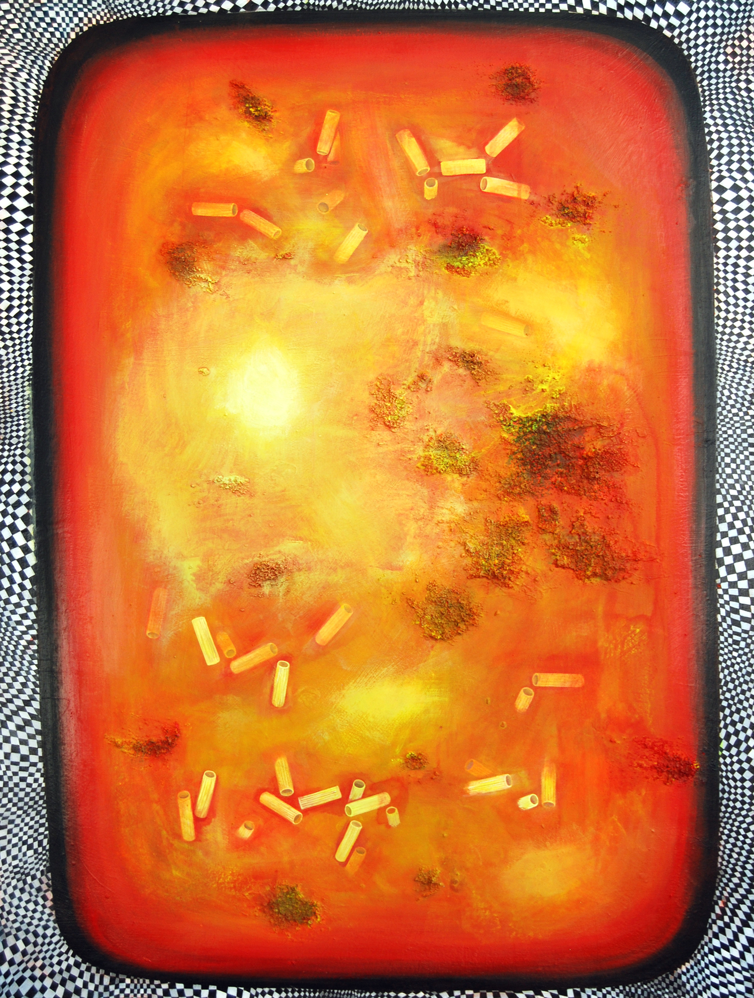 Rigatoni Casserole , 2015, acrylic on canvas, 40 x 30 inches, acrylic and pumice on canvas. Jennifer Coates.