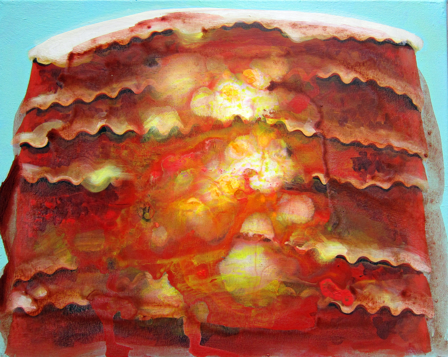 Lasagna, 2015, acrylic on canvas, 14 x 18 inches. Jennifer Coates.