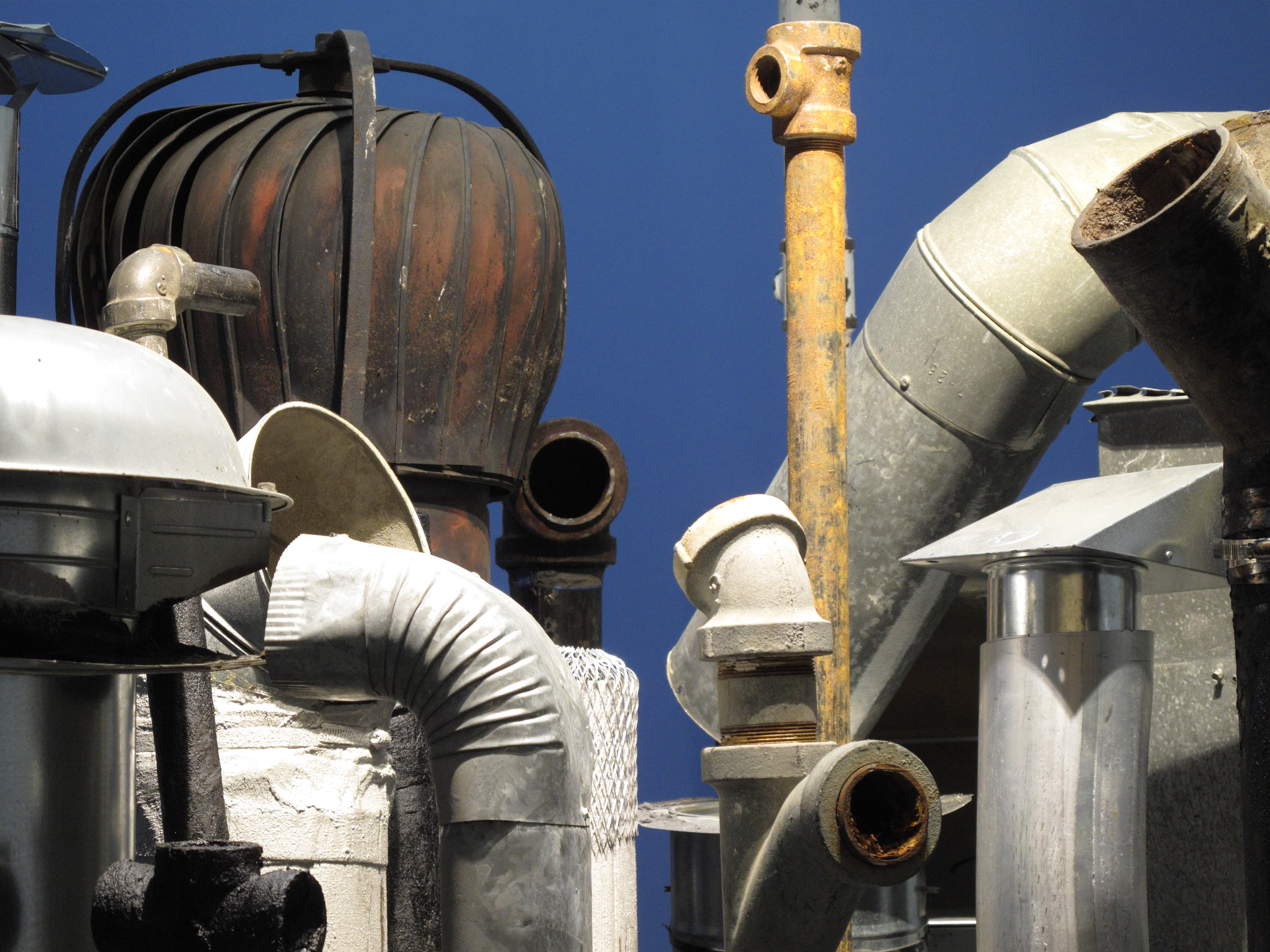 """Down-Below,"" (detail); Exhaust pipes. 2012-16"