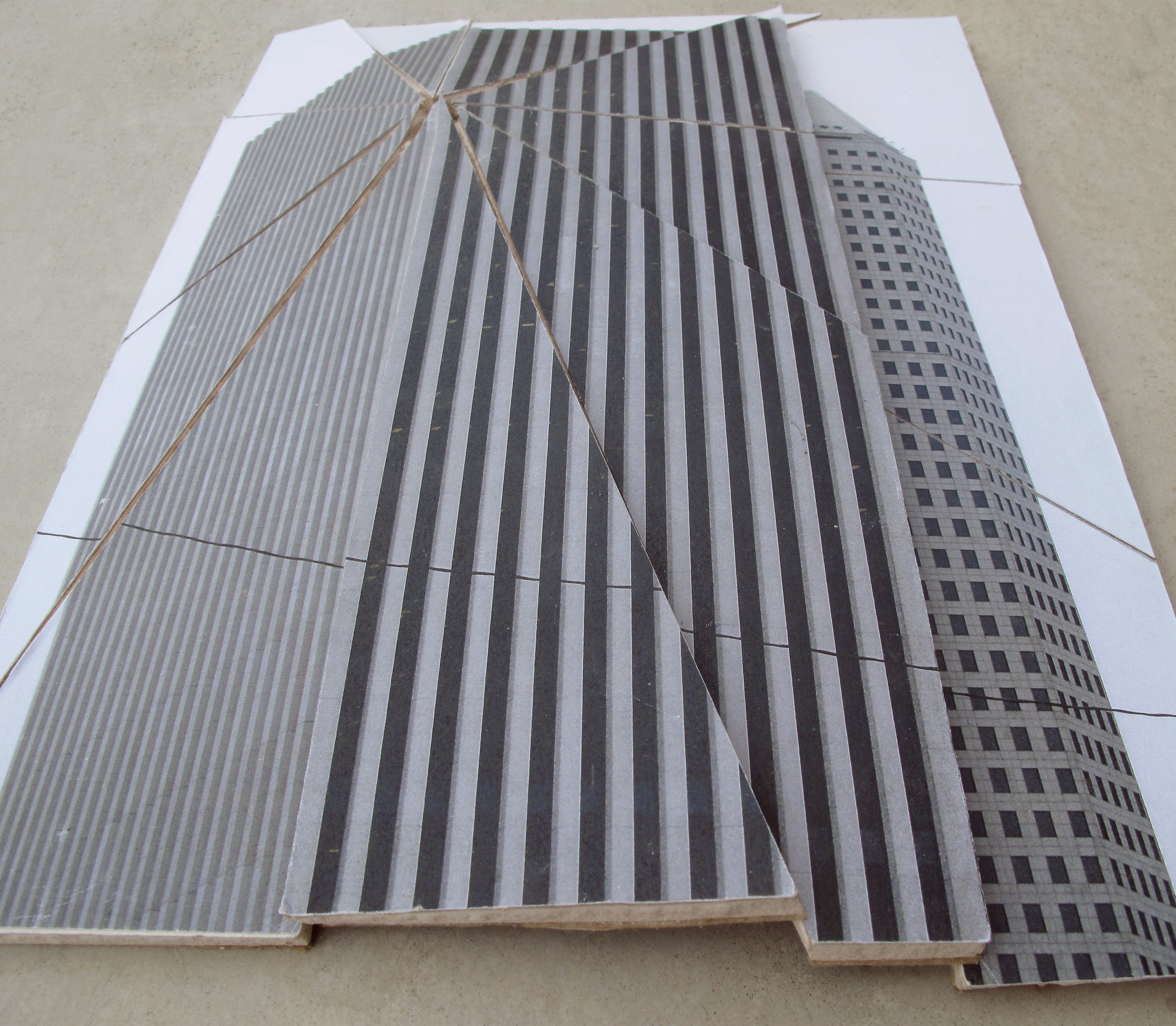 """The Post Condition (KBR Tower and Continental Center in Houston, TX),"" Inkjet prints on drywall. 2011"