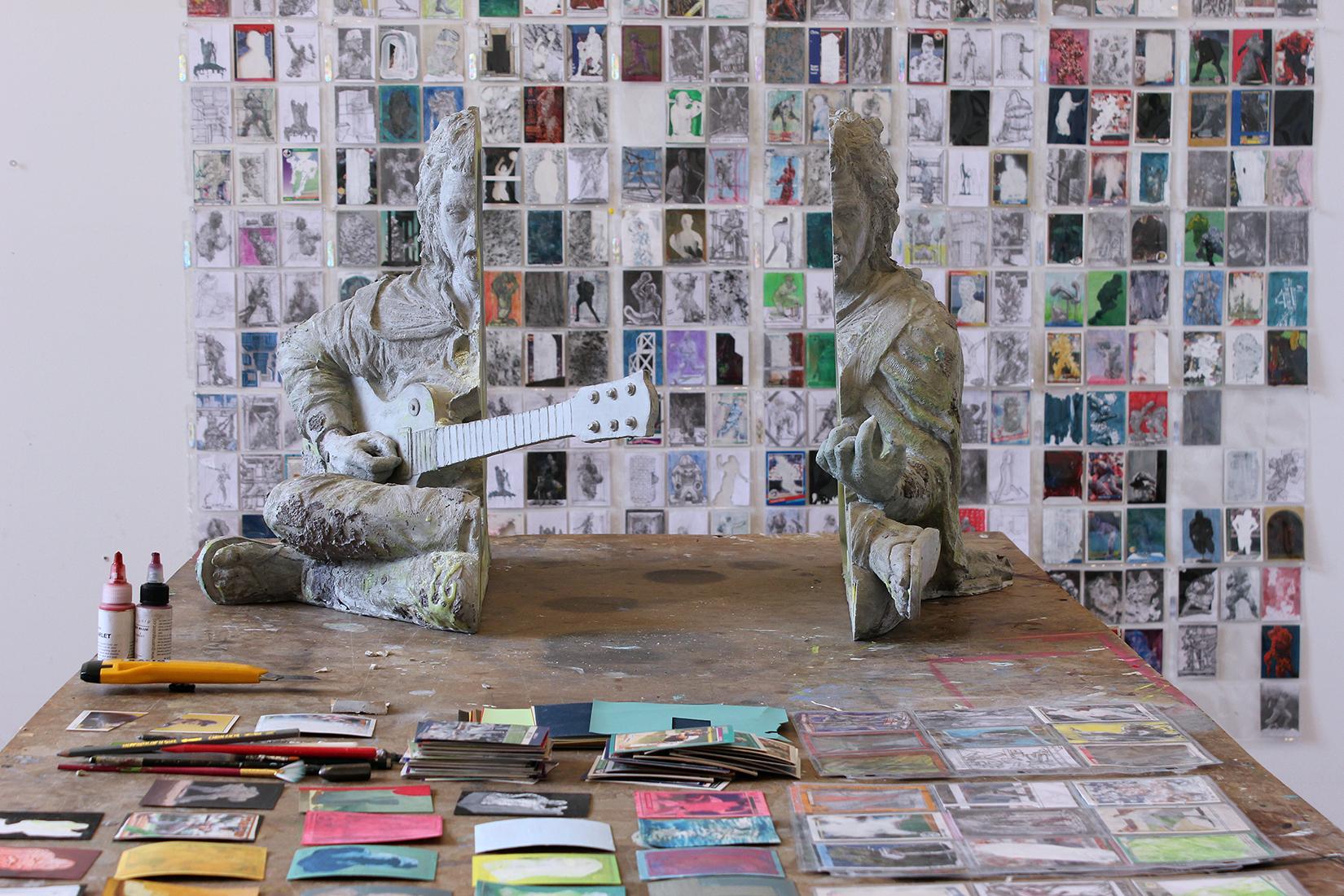 """Norm Paris Studio;Featured Work (Center): """"Geode (Roky Erickson),"""" 2016; gypsum, resin, pigment, bronze powder, 33 x 27 x 19.25 inches"""