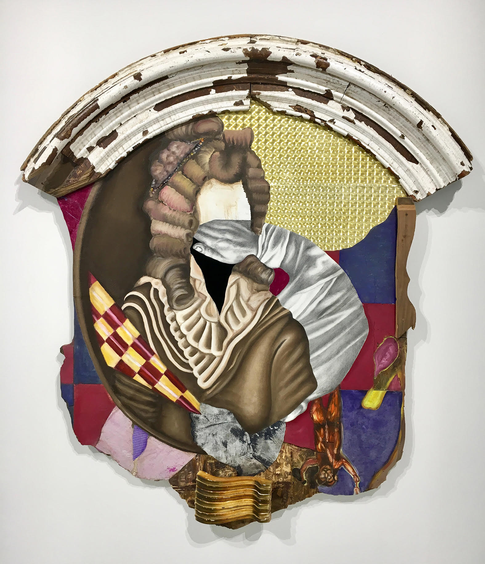 """Double Jointed,"" 2017, oil, graphite, tiles, wood, fabric, and mixed media, 67 x 60 x 5 inches.  www.davidshrobe.com"