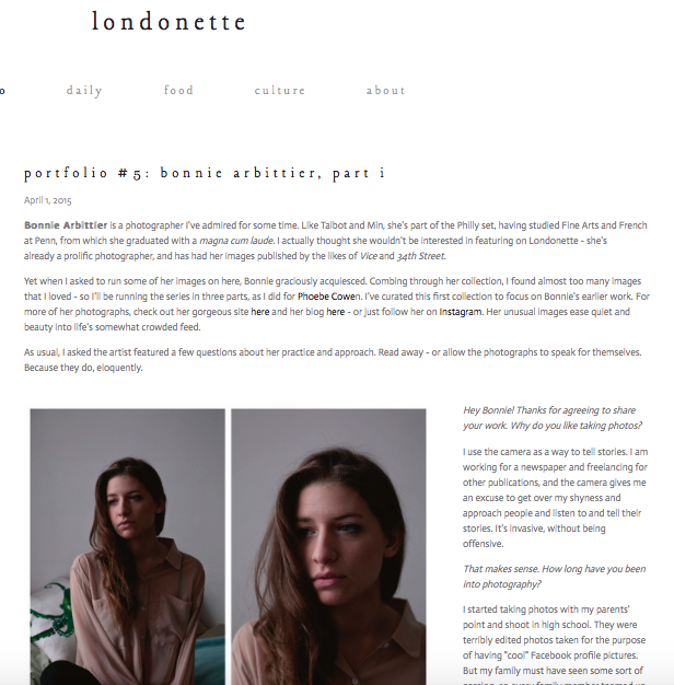 The Londonette Blog, Personal Interview