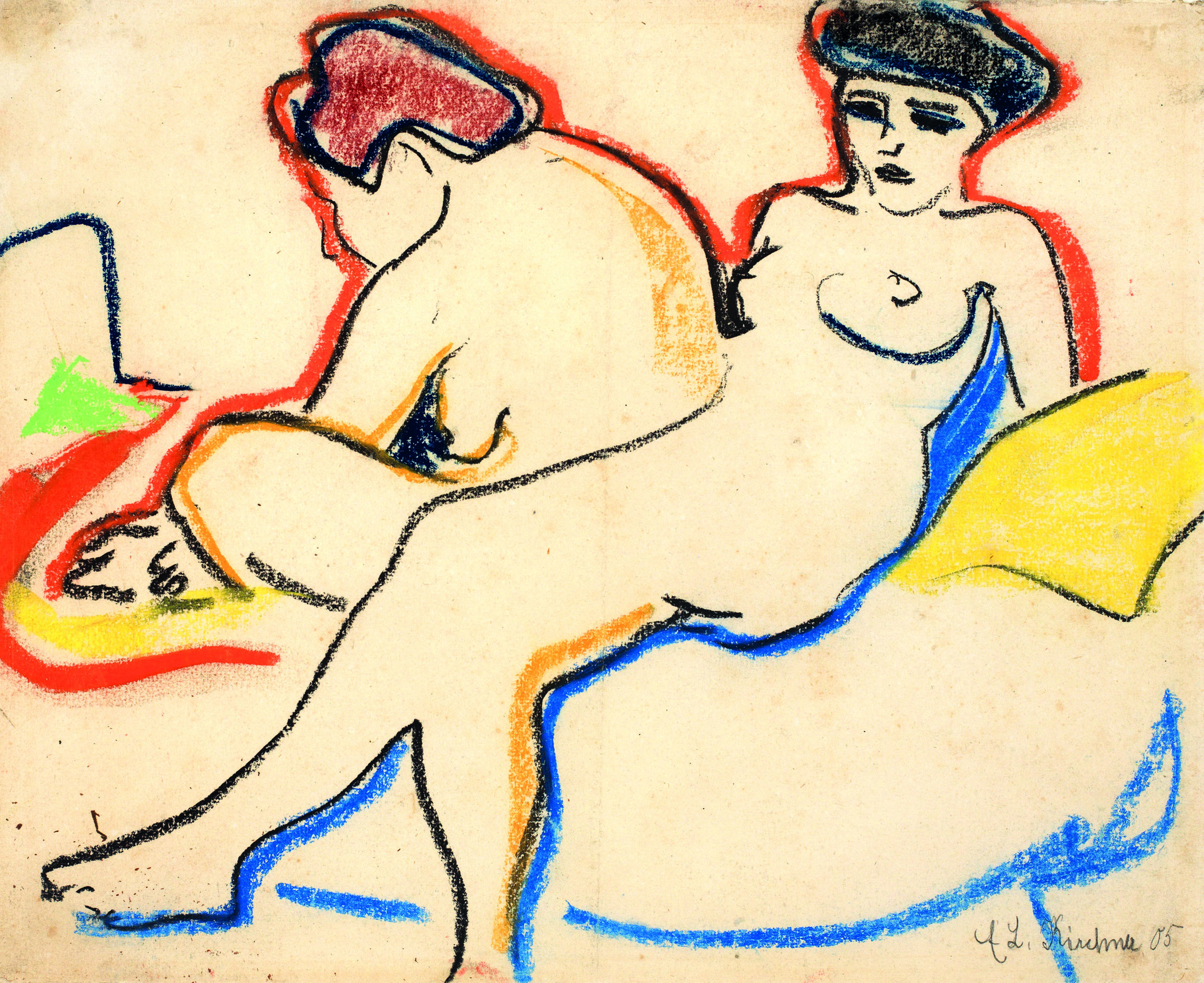 Kirchner, Two Nudes on the Bed, 1907-1908, Kunstmuseum Bern.jpg