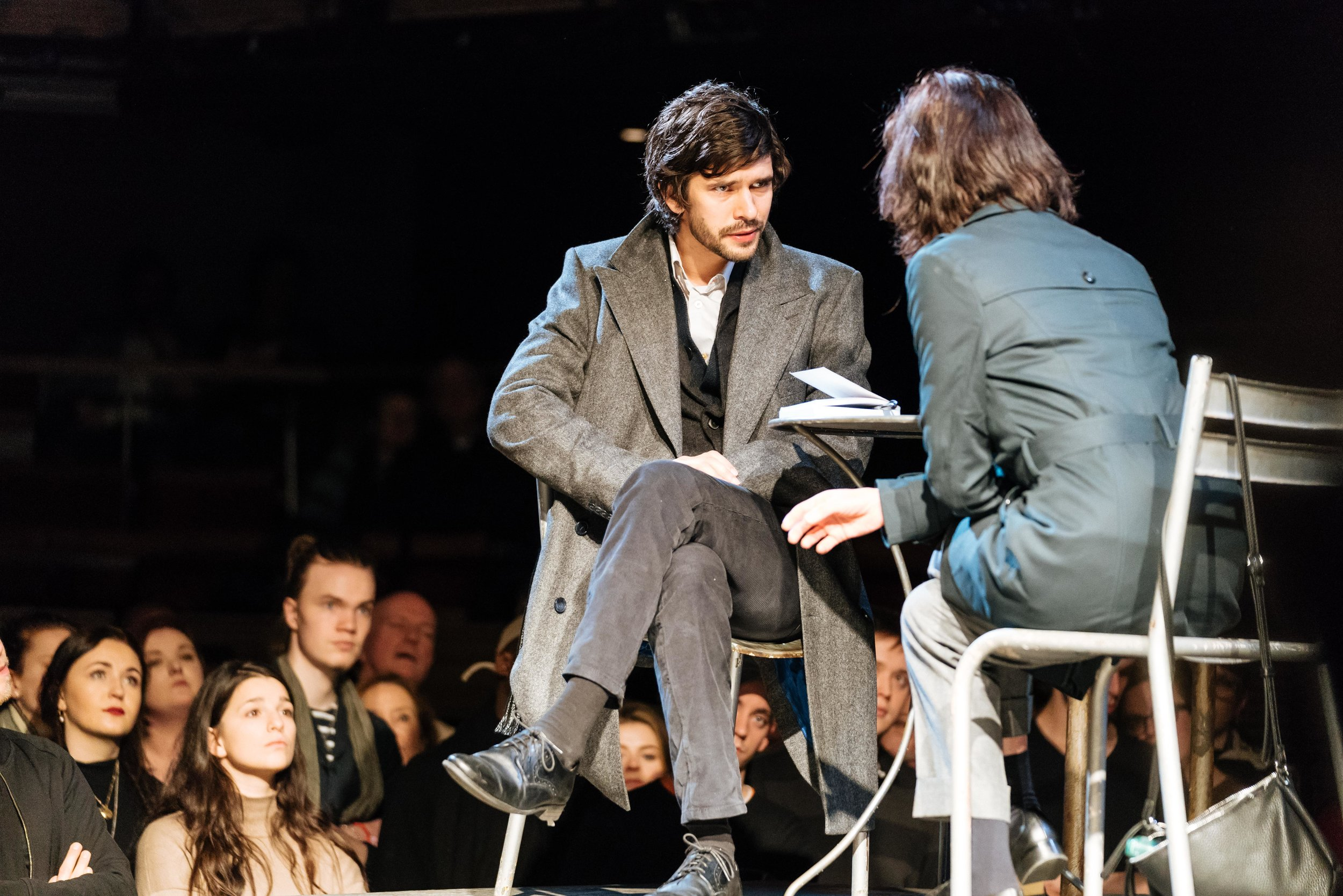 l-r Ben Whishaw (Brutus) and Michelle Fairley (Cassius) - Julius Caesar at the Bridge Theatre - Photo credit Manuel Harlan.jpg