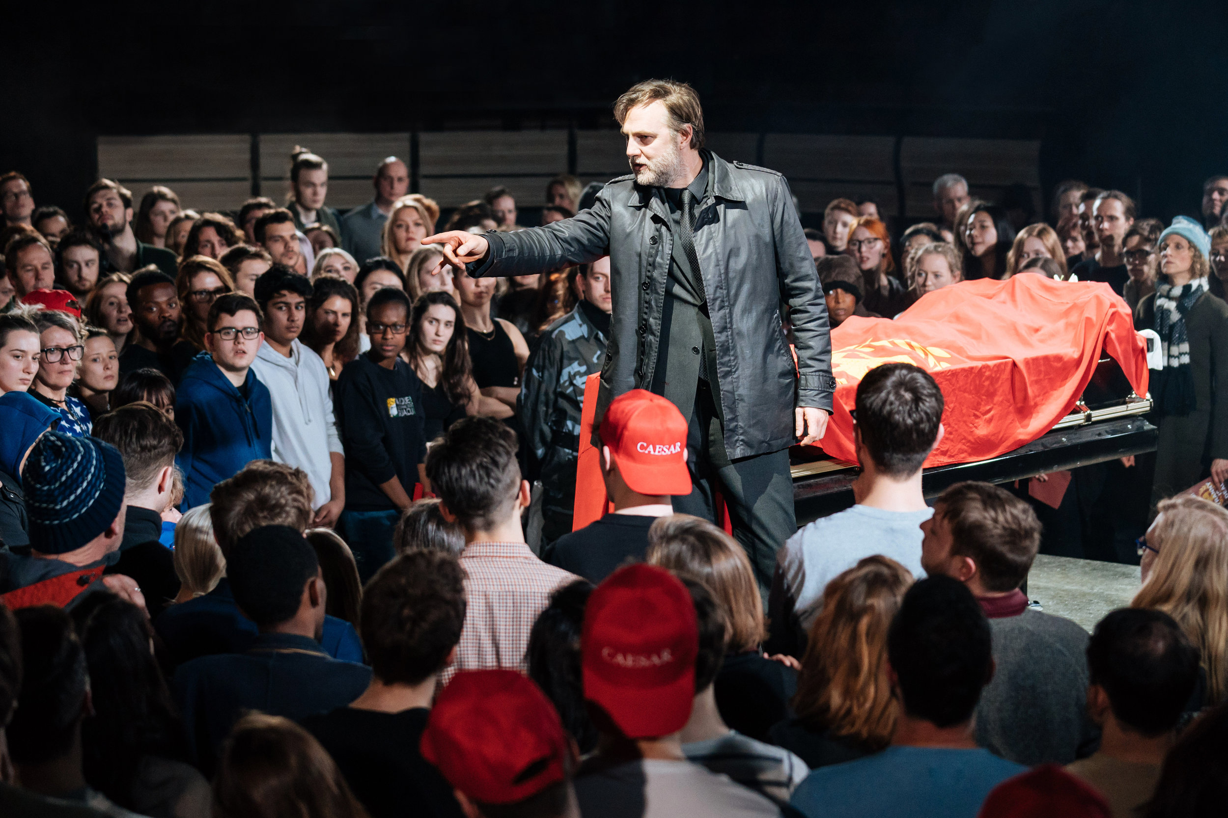 David Morrissey (Mark Anthony) -- Julius Caesar at the Bridge Theatre - Photographer credit Manuel Harlan.jpg
