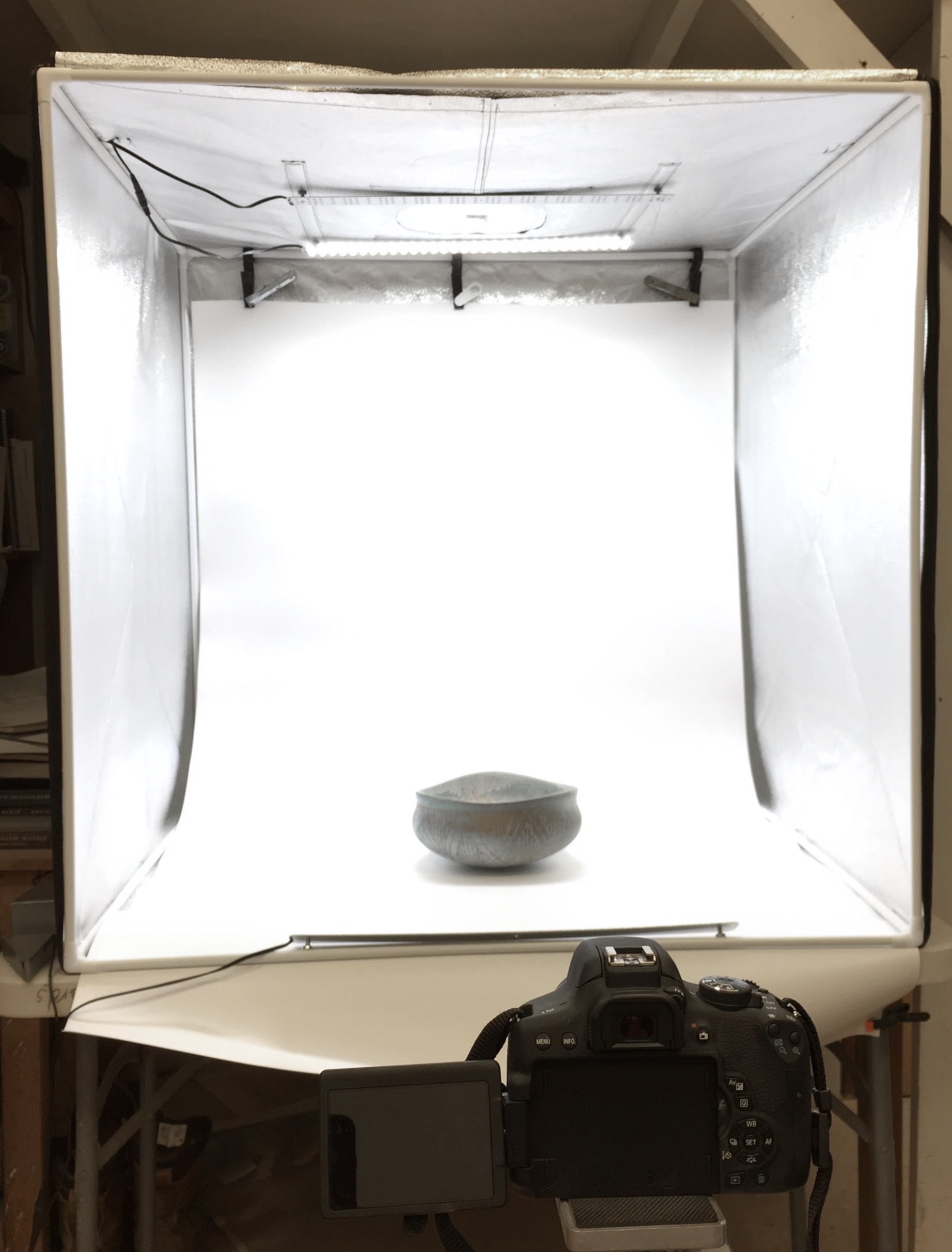 Neil Celani's photo booth set up for white backgrounds. Work and photograph by Neil Celani. 2019.