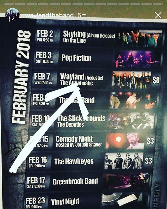 Peep us on @waylandtheband's story! So excited to play an acoustic rock show with these boys tonight! If you're anywhere near Muskegon come out to @unrulybrewing to drink some beer with us! See you tonight! . . . . #band #live #muskegon #michigan #rockshow#warriors #waylandwarriors #brewery #craftbeer #livemusic #beer #band #local #humpday #wednesday #rockband #rockandroll