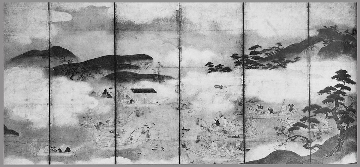 Night Fishing with Cormorants  by Tano Kanyu. Six-fold screen, Mid-17th century.
