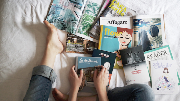 Magazines on bed