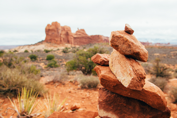 Cairn near Balanced Rock in Arches National Park; Moab, Utah.