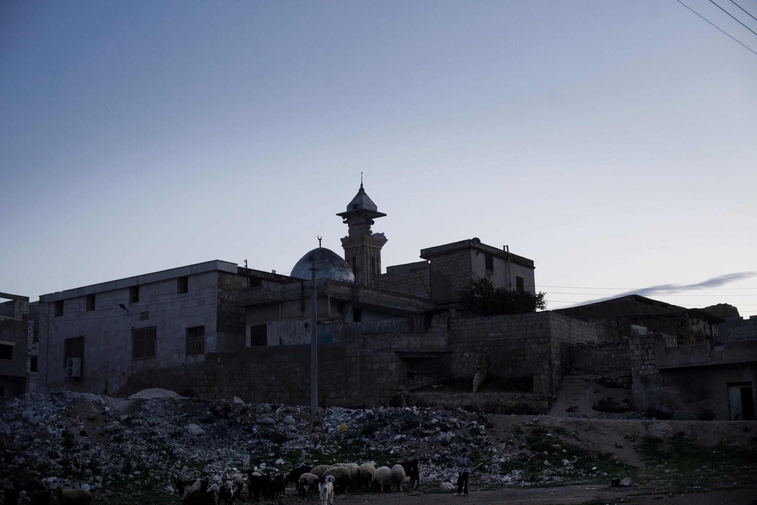 Destroyed minaret.