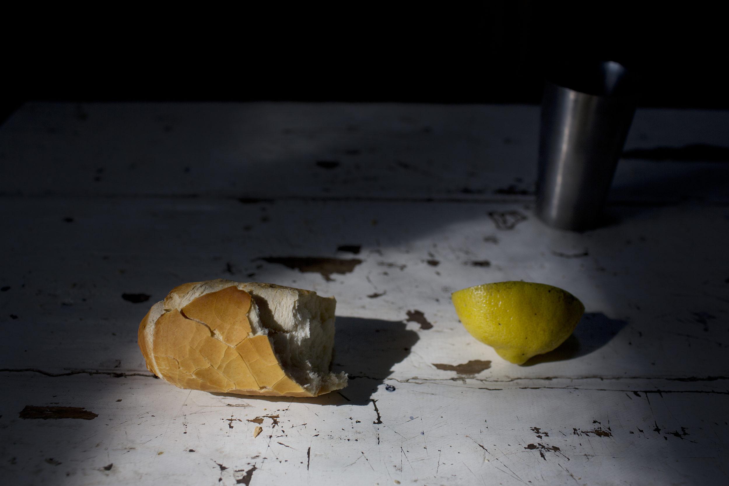 Bread and lemon.