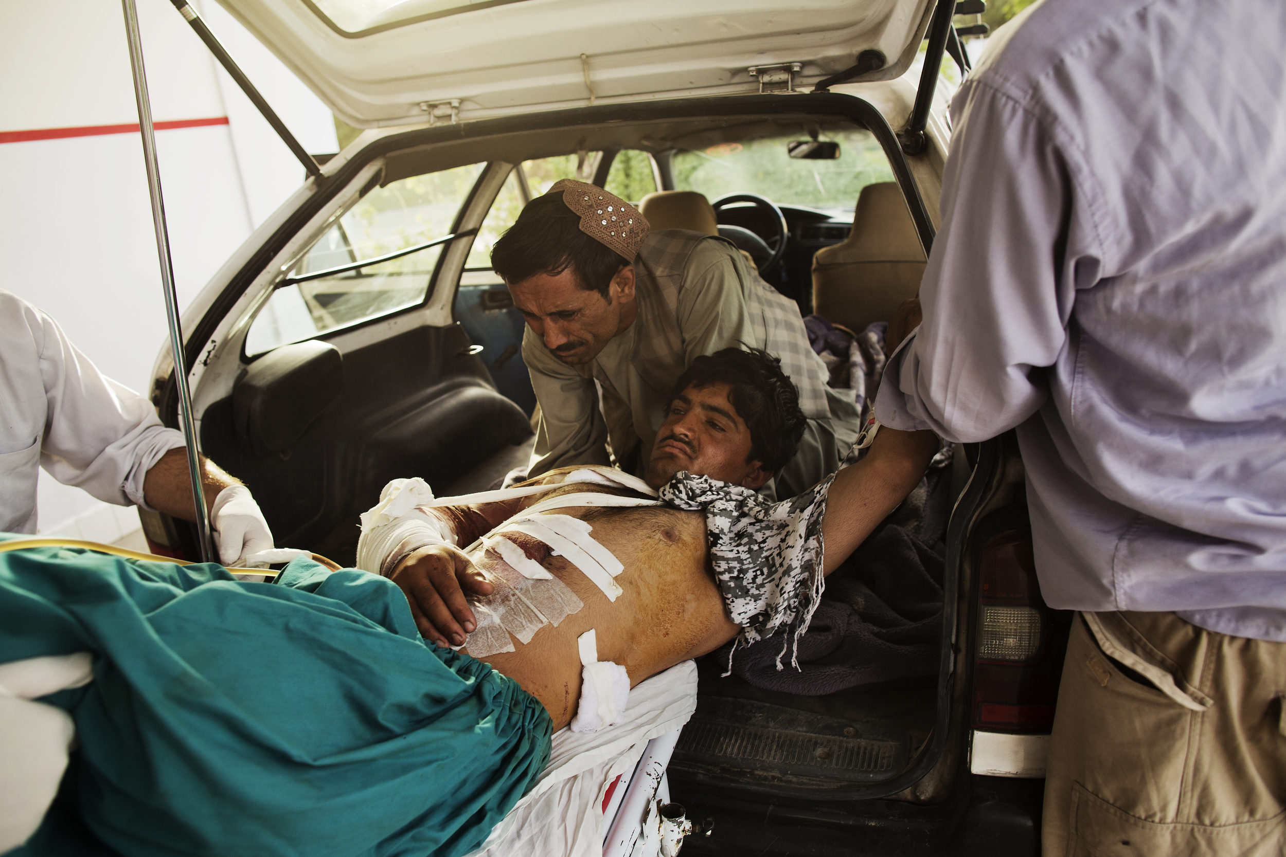 Mohammed Audia, 22,hurt in a suicide attack in Ghazni the day before.