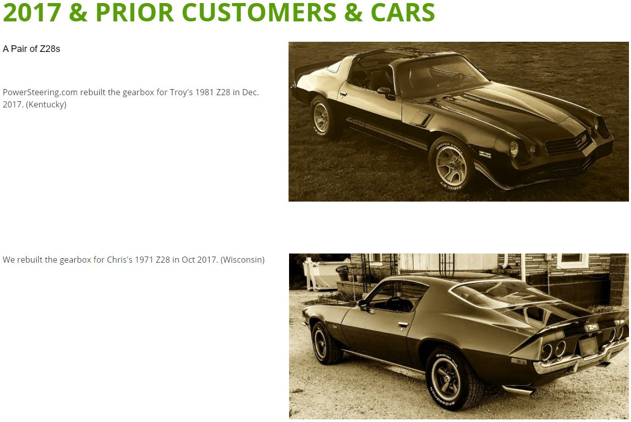 Click the picture for more - 2017 and prior customer cars are on a seperate page
