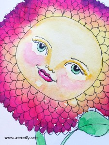 Flower face no 4 WIP watercolour stage