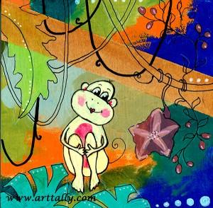 Monkey 4 Mixed Media on Wood Arttally