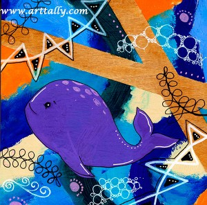Whale acrylic paint arttally
