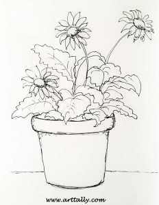Line Drawing Stage of Plants in Pots No 1 arttally