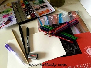 Art supplies for the Plants in Pots Series arttally