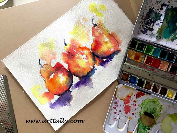 wet into wet watercolour painting fruit