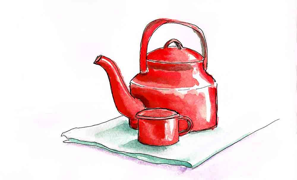 kitchen wall art prints red tea pot