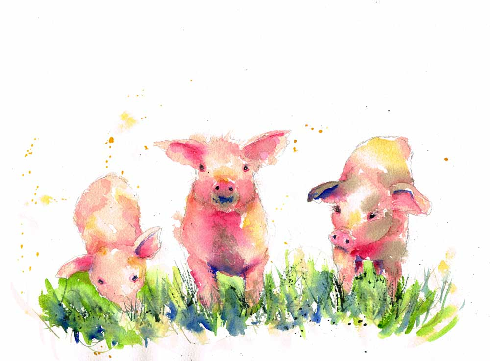 Farm-Animals-no-5-original watercolour painting by Kerrie Woodhouse