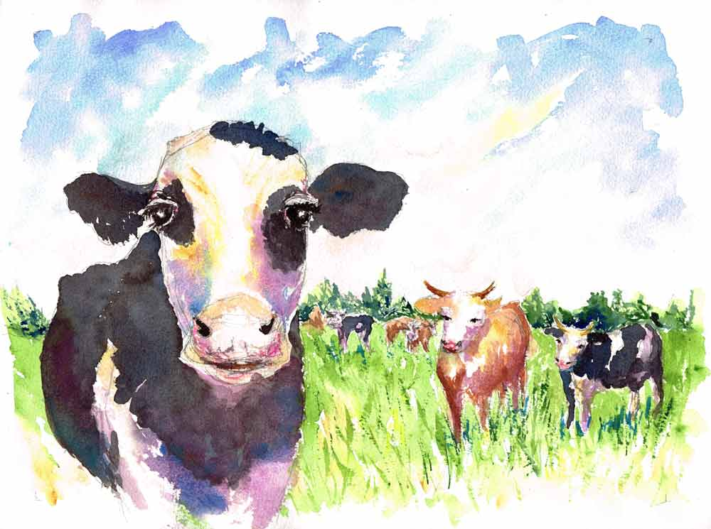 Farm-Animals-no-6-original watercolour painting by Kerrie Woodhouse