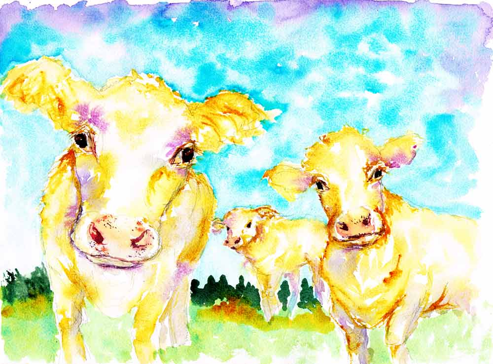 Farm-Animals-no-9-original watercolour painting by Kerrie woodhouse